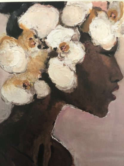 Cuadro mujer africana orquideas