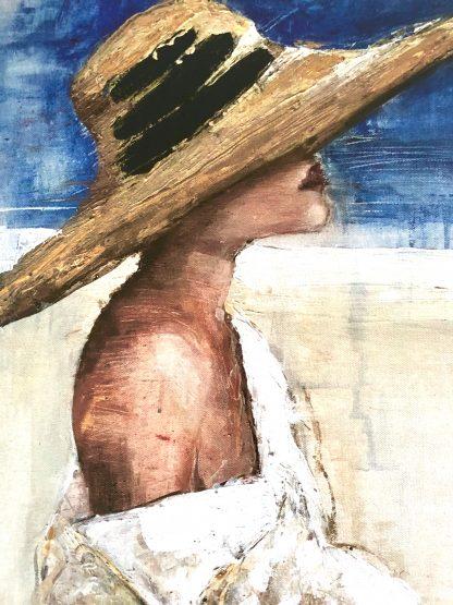 cuadro lienzo mujer playa