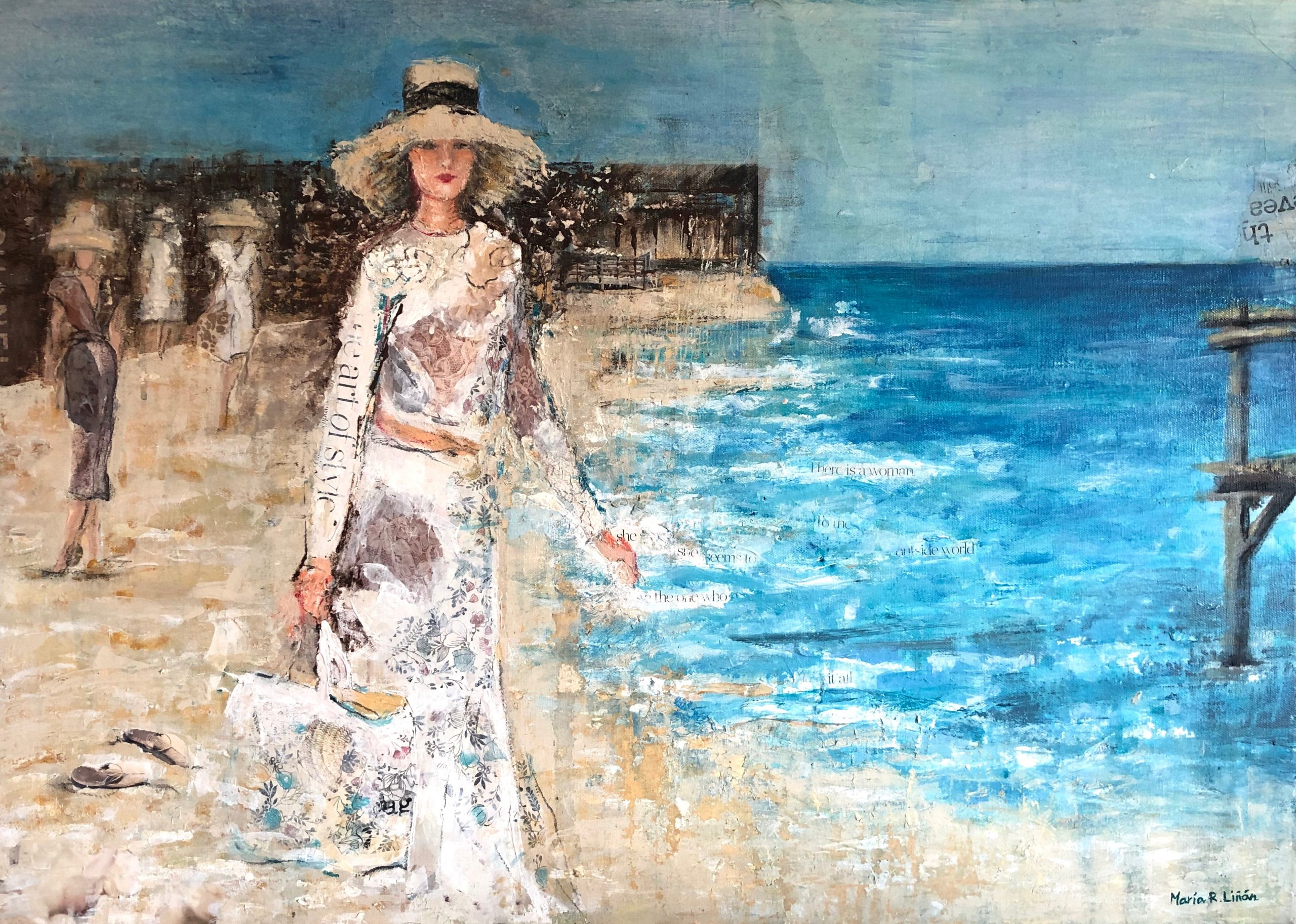 moda playa pintura cuadro