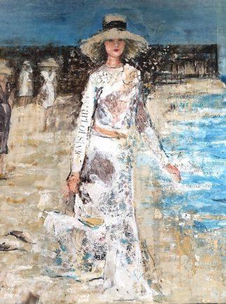 cuadro pintura original playa moda