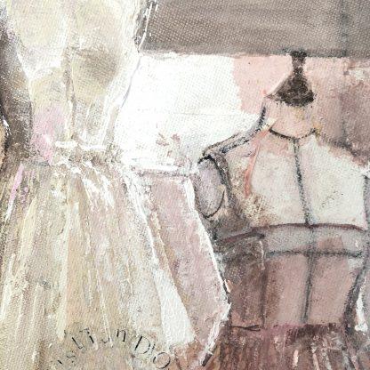 lienzo redondo pintura cuadro original moda